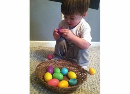 We explored plastic Easter eggs this week. Lawson loved taking them apart, and I would put them back together for him. We did this many, many times!