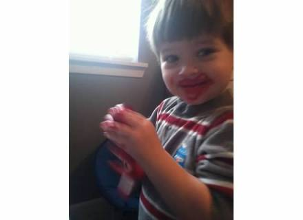 He still tries to taste paint and Play-doh every single time we do it and then gags because he doesn't like the taste. One day he'll learn, but this is why he looks like a clown in a lot of his pictures. :)
