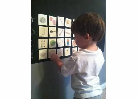 We used painter's tape to attach our laminated vocabulary development cards to our chalk board. This made it into a fun game where we could remove the ones he could identify and keep working on the ones that were new to him.
